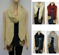 Knitted Scarf [Tight Knit with Fur PomPoms]